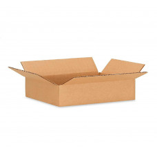 """16""""L x 10""""W x 4""""H Flat Small Corrugated Box for Moving, Shipping or Storing Items, 100% Recyclable, Brown"""
