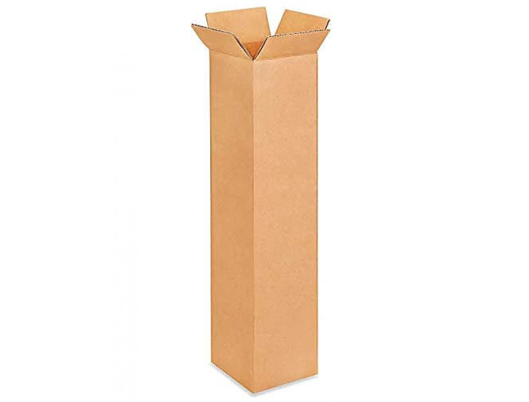 "4""L x 4""W x 18""H Tall Cardboard Box for Moving, Shipping, Storage, 100% Recyclable, Brown"