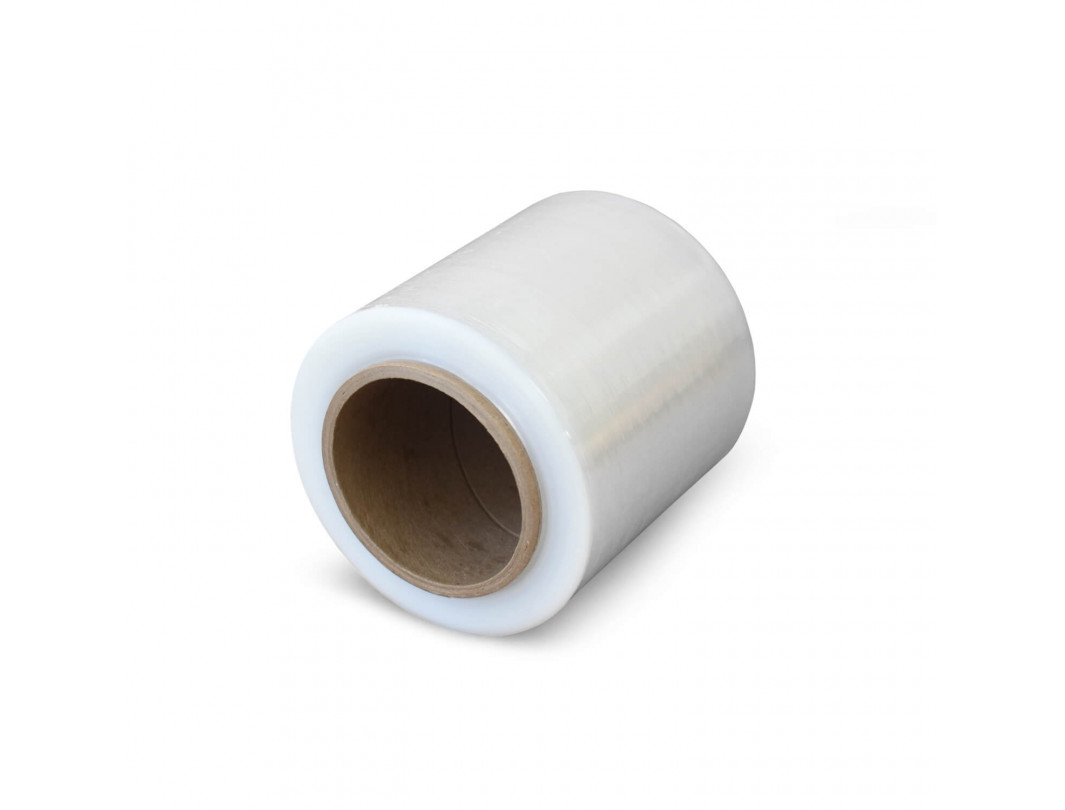 "5"" x 1000' 80 gauge Bundling Stretch Wrap Rolls with Plastic Handle, Clear 4"