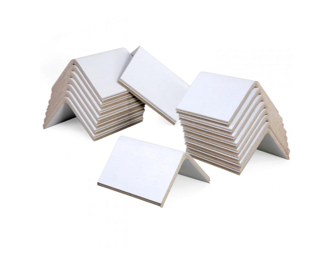 """2"""" x 2"""" x 3"""" V-Board Cardboard Edge Protectors, White, 0.160"""" Thick"""