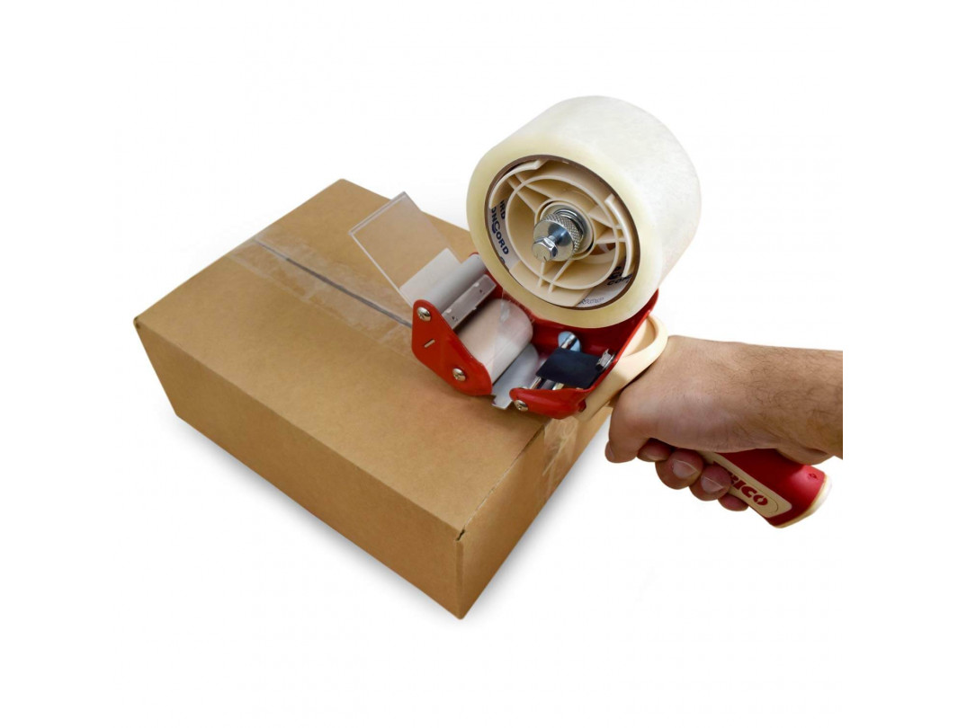 """T-235 Heavy Duty Tape Gun Dispenser for 2"""" Tapes, Strong Metal Construction, Safe and Durable Blade, Rubber Roller and Handle"""