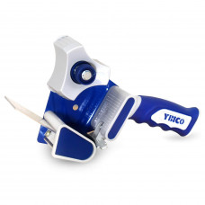 "T-291 Tape Gun Dispenser for 2"" Tapes, Safe Blade, Rubber Roller, Blue Metal Frame, Comfy Rubber Grip"