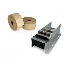 Dispenser + 2 Rolls of Water-Activated (Gummed) Tape, Reservoir & Moister Brush