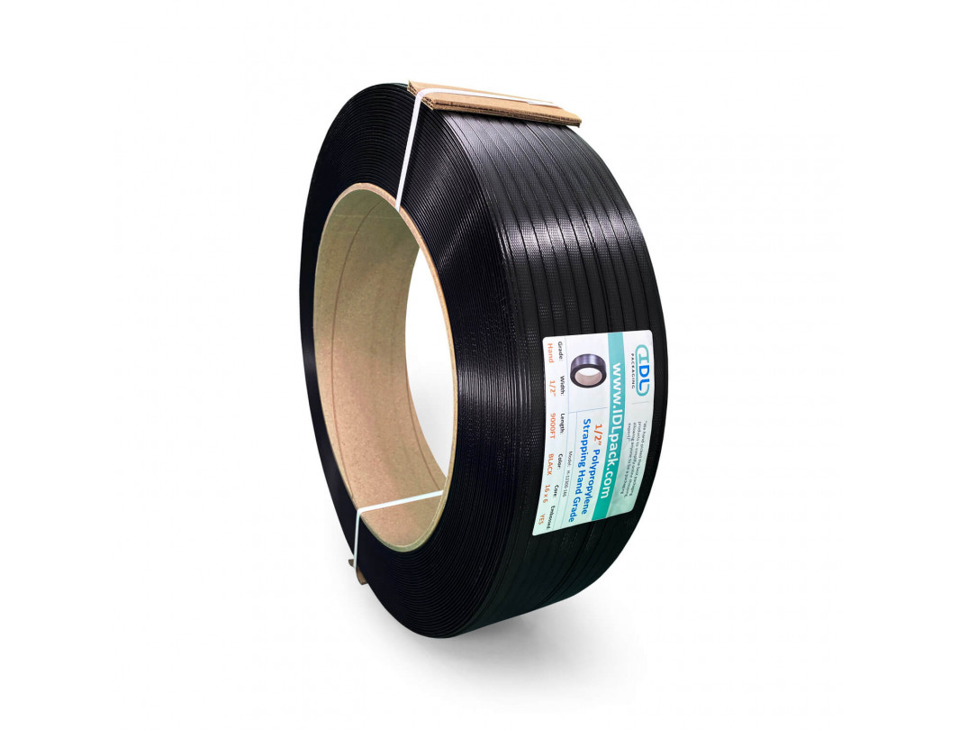 "1/2"" x 9000' Hand Grade Polypropylene (PP) Strapping Roll, 350 lbs. Break Strength, 16 x 6 Core, Black 1"