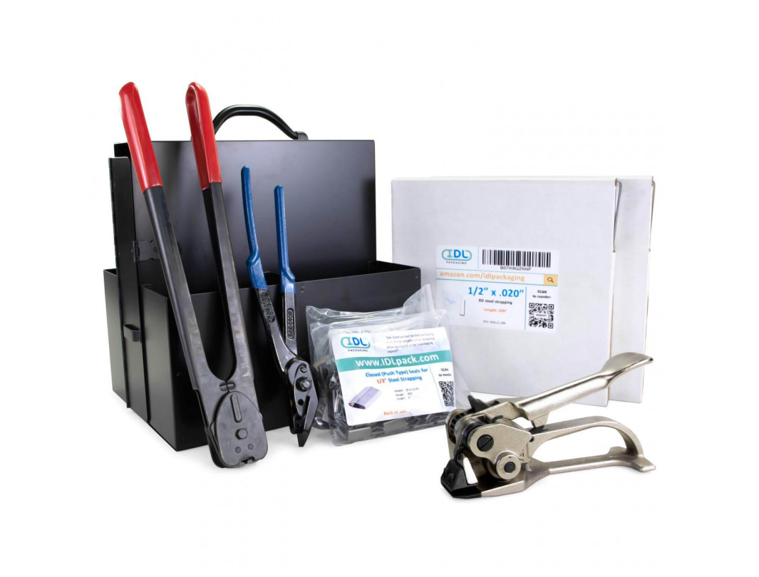 "1/2"" or 5/8"" or 3/4"" Portable Steel Strapping Kit for Pipes, Pallet Strapping Full Kit"