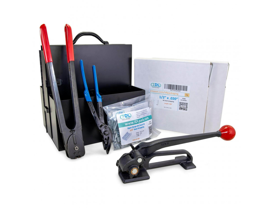 "1/2"", 5/8"" or 3/4"" Strap Width Portable Steel Strapping Kit with Dispenser"