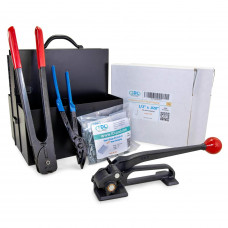 """1/2"""", 5/8"""" or 3/4"""" Strap Width Portable Steel Strapping Kit with Dispenser"""