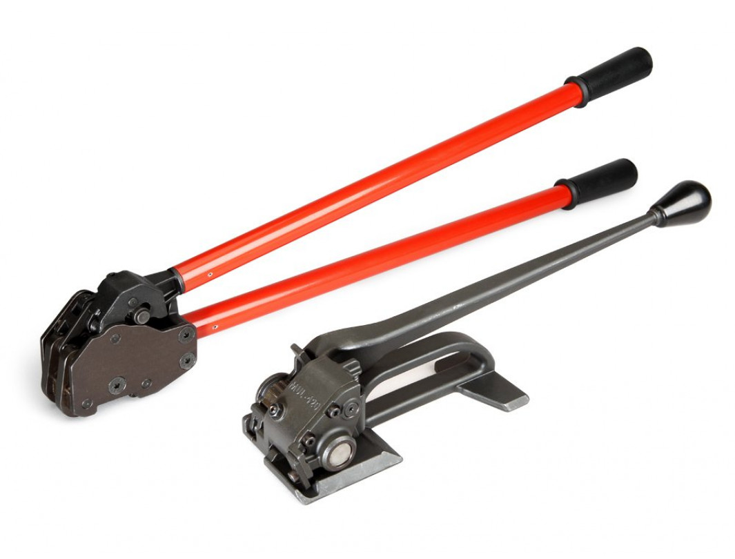 """Heavy Duty Steel Strapping Tool Set - MUL-420 Premium Manual Tensioner and MUL-430 Heavy Duty Dual-Action Sealer for 3/4"""" to 1 1/4"""" Wide Strap, 0.044"""" Thickness"""