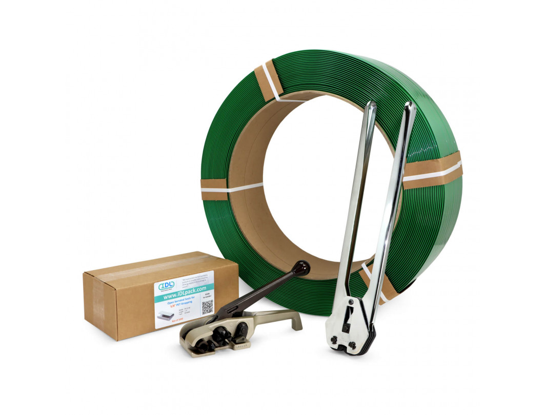 """5/8"""" PRO Polyester (PET) Strapping Kit with Standard Coil, 1400 lbs. Break Strength"""