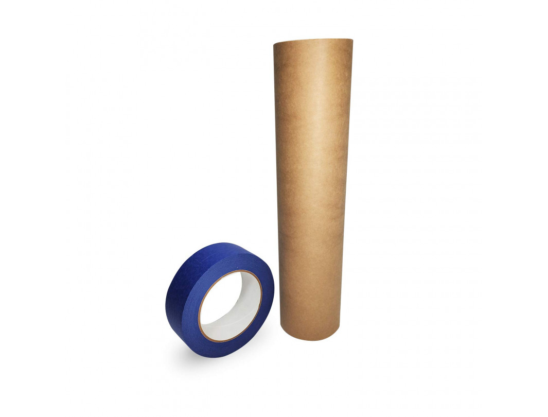 """Set of 12"""" x 60 Yards Brown Masking Paper Roll and 1 1/2"""" x 60 Yards Blue Masking Tape Roll - for Protecting Surfaces from Splatter and Spills"""
