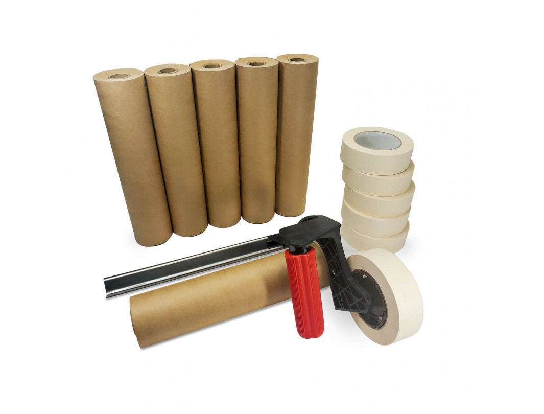 "Masking Cover Set 1 1/2""x60 yd Masking Painters Tape Roll with 12""x60 yd Masking Kraft Paper Roll and Masking Dispenser"