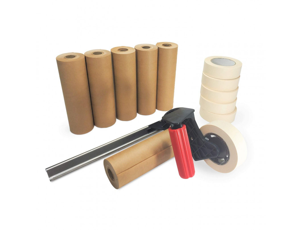 TH-120 Ergonomic Dispenser for Masking Painters Tape and Masking Kraft Paper with Blade Included