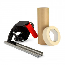 "Masking Cover Set 1 1/2""x60 yd Masking Painters Tape Roll and 9""x60 yd Masking Kraft Paper Roll with Masking Dispenser"