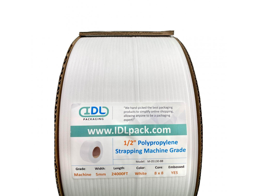 "5 mm x 24000' Machine Grade Polypropylene (PP) Strapping, 130 lbs. Break Strength, 8"" x 8"" Core, White 1"