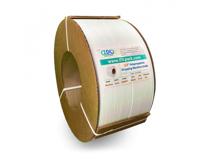 "5 mm x 24000' Machine Grade Polypropylene (PP) Strapping, 130 lbs. Break Strength, 8"" x 8"" Core, White"