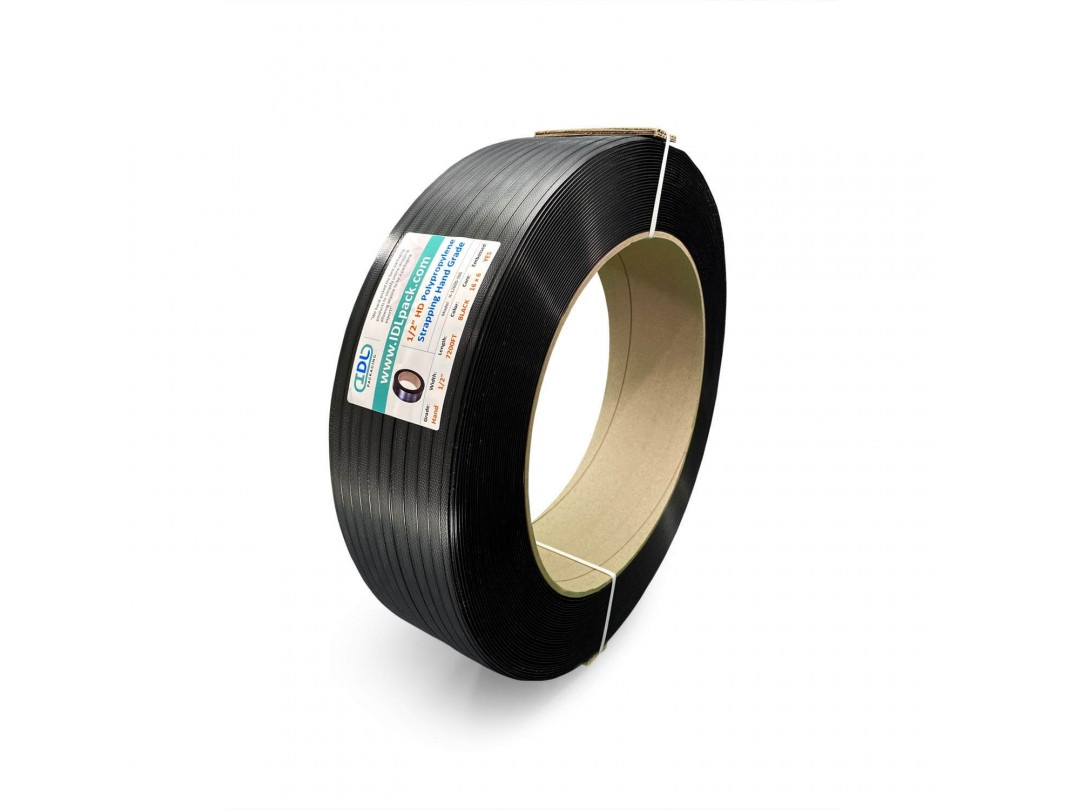 "1/2"" x 7200' Heavy Duty Hand Grade Polypropylene (PP) Strapping Roll, 600 lbs. Break Strength, 16 x 6 Core, Black 1"