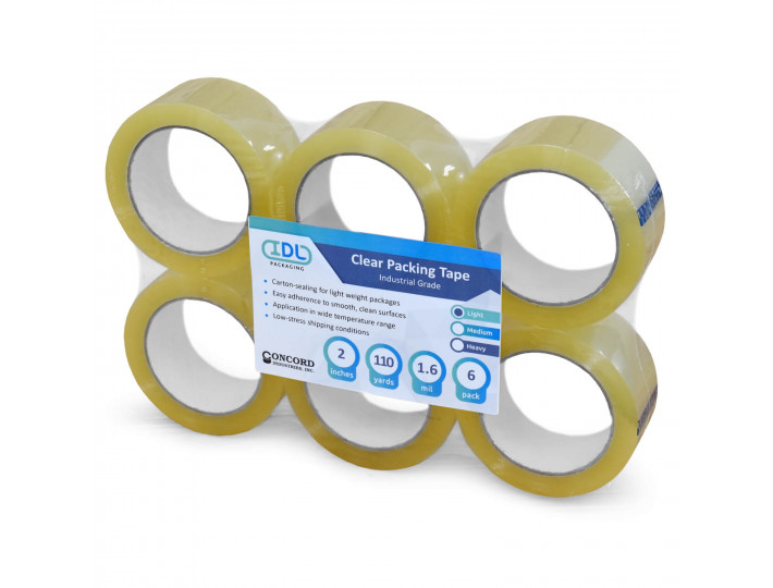 """Concord Packing Tape 2"""" x 110 Yards, Clear (Pack of 6)"""