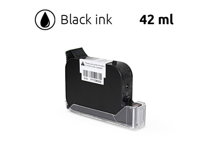 Black Ink Cartridge for SoJet V1H Handheld Printer, 42 ml, Solvent-Based