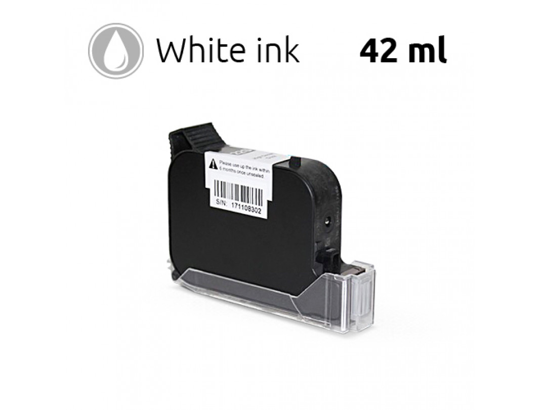 White Ink Cartridge for SoJet V1H Handheld Printer, 42 ml, Solvent-Based