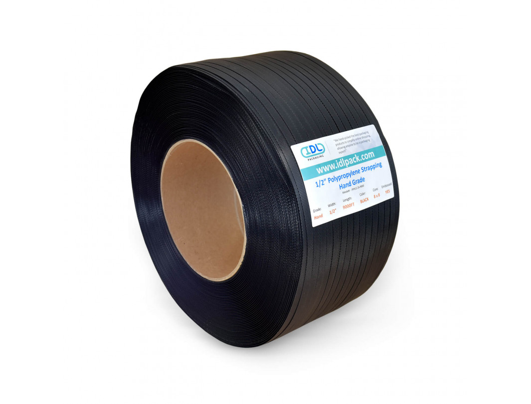 "1/2"" x 9000' Hand Grade Polypropylene (PP) Strapping Roll, 300 lbs. Break Strength, 8 x 8 Core Size, Black"