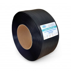 "1/2"" x 9000' Hand Grade Polypropylene (PP) Strapping Roll, 350 lbs. Break Strength, 8 x 8 Core Size, Black"