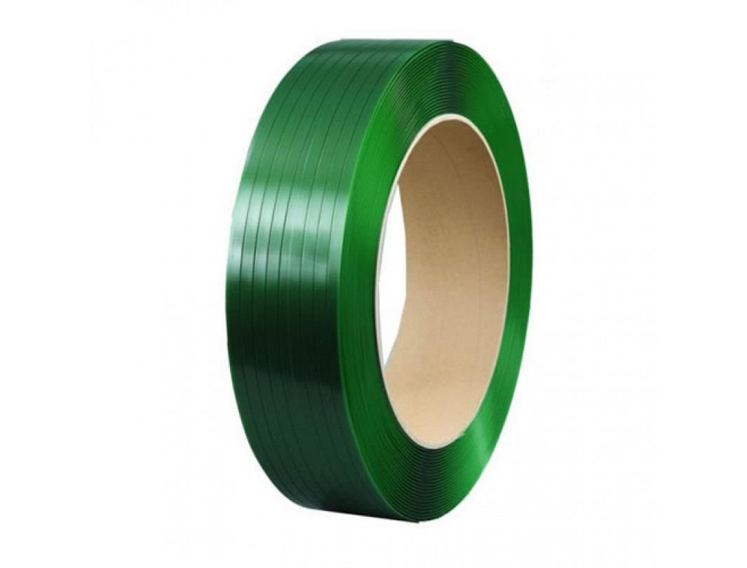 "1/2"" x 0.025"" x 5800' Polyester (PET) Strapping, 760 lbs. Break Strength, 16"" x 6"" Core, Green/Black"