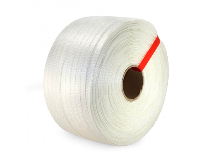 "3/4"" x 1640' Heavy Duty Woven Cord Strapping Roll, 1830 lbs. Break Strength, 6"" x 3"" Core"