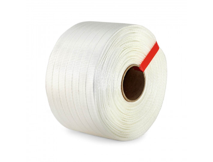 "3/4"" x 2100' Woven Cord Strapping Roll, 900 lbs Break Strength, 6"" x 3"" Core"