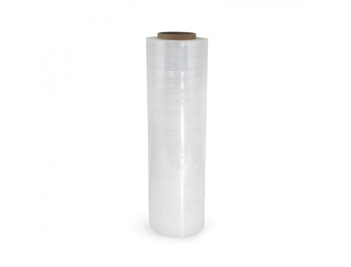 "18"" x 1500' 80 Gauge Hand Stretch/Shrink Film Roll, Clear"