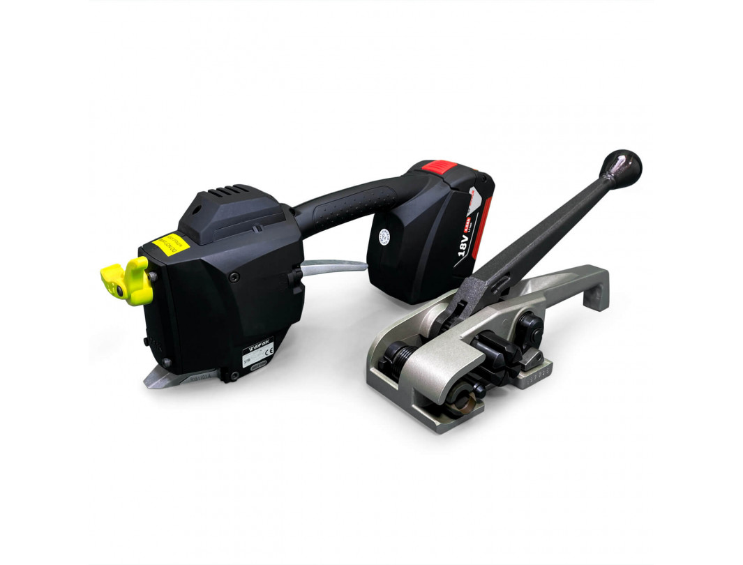 "TEK-2 Set for Polyester (PET) Strapping, Battery Welder and HD Tensioner, Bosch Charger and Battery Included 3/4"" Strap Width"