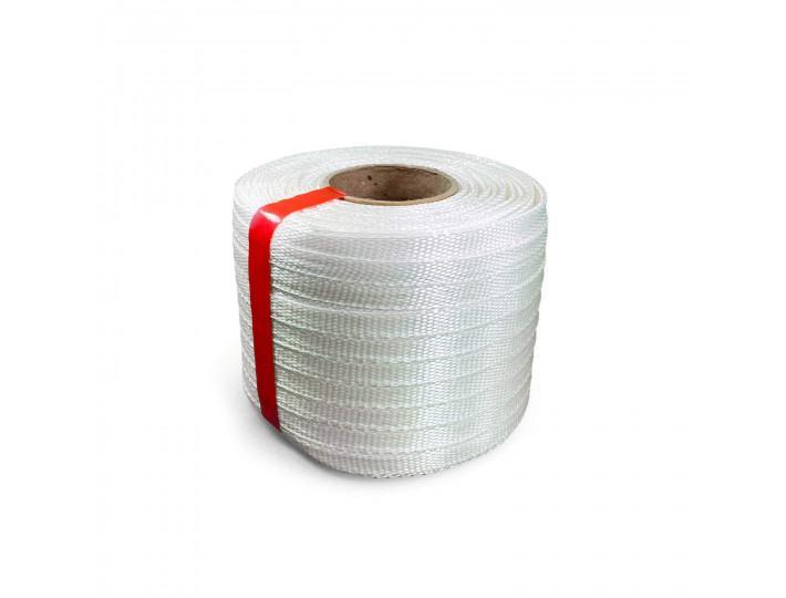 "1/2"" x 1500' Heavy Duty Woven Cord Strapping Mini Roll, 650 lbs. Break Strength, 6"" x 3"" Core"