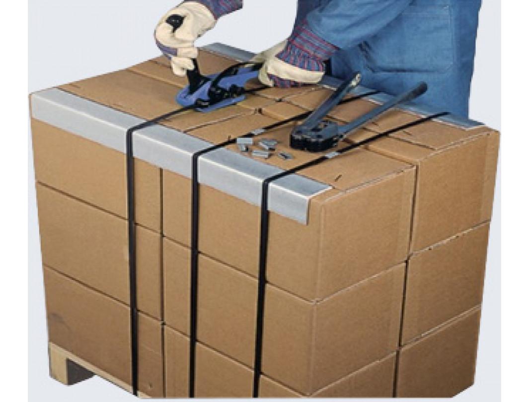 "1/2"" x 9000' Hand Grade Polypropylene (PP) Strapping Roll, 300 lbs. Break Strength, 8 x 8 Core Size, Black 3"
