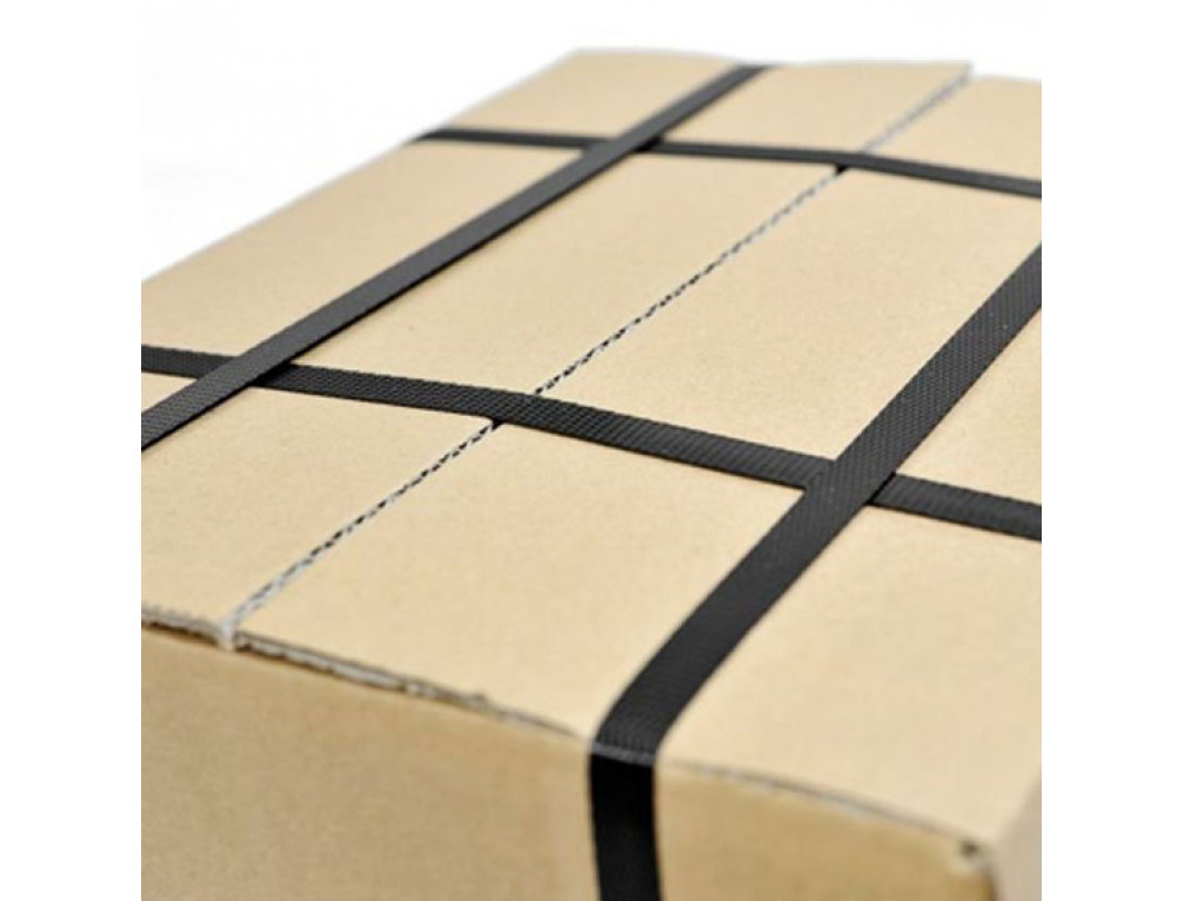 "1/2"" x 9000' Hand Grade Polypropylene (PP) Strapping Roll, 300 lbs. Break Strength, 8 x 8 Core Size, Black 1"